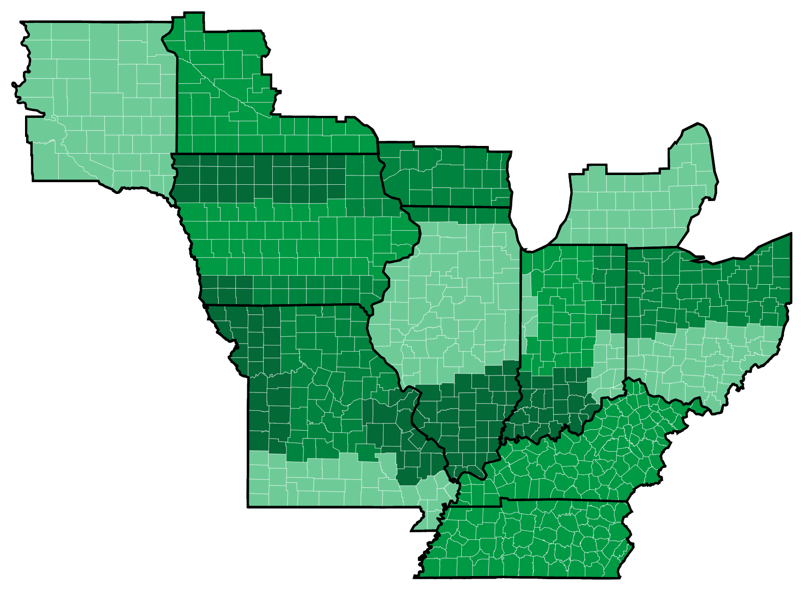 county map of Illinois, Indiana, and western Ohio
